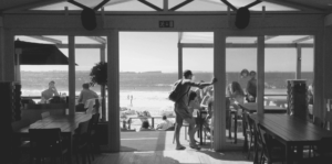 Cafe On Ventura Beach With People Eating