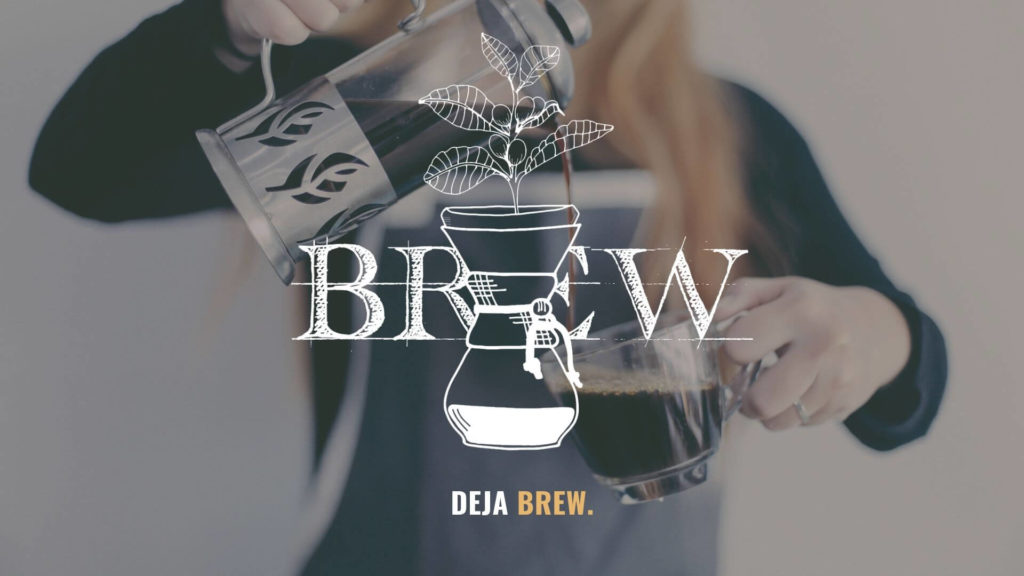 Girl barista pouring french press coffee