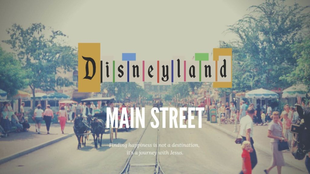 Vintage family photo of main street walking by horse and trolley